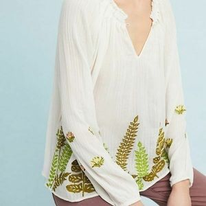 Anthropologie Ranna Gill Botanical Peasant Top
